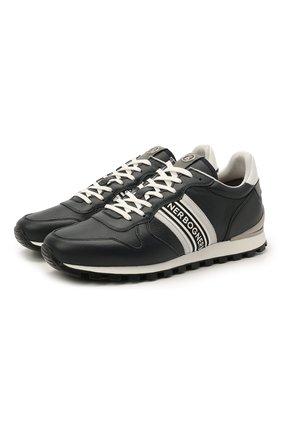 Мужские кожаные кроссовки BOGNER темно-синего цвета, арт. 12120425/P0RT0 15 A | Фото 1 (Подошва: Массивная; Материал внутренний: Текстиль; Стили: Спорт)