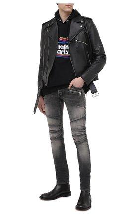 Мужские джинсы BALMAIN серого цвета, арт. VH1MG006/010D   Фото 2