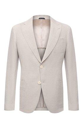 Мужской пиджак изо льна и вискозы GIORGIO ARMANI светло-бежевого цвета, арт. 1SGGG0LT/T02H1 | Фото 1