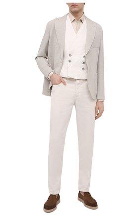 Мужской пиджак изо льна и вискозы GIORGIO ARMANI светло-бежевого цвета, арт. 1SGGG0LT/T02H1 | Фото 2