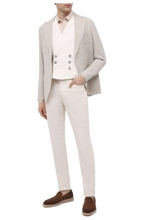 Мужской льняной жилет GIORGIO ARMANI белого цвета, арт. 1SGGK024/T02JV | Фото 2 (Материал подклада: Хлопок; Материал внешний: Лен; Длина (верхняя одежда): Короткие; Мужское Кросс-КТ: Жилет-классика; Стили: Классический)
