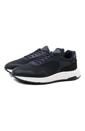Мужские комбинированные кроссовки HOGAN темно-синего цвета, арт. HXM5630DM90PJW | Фото 1