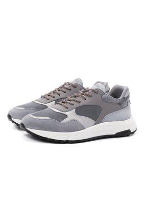 Мужские комбинированные кроссовки HOGAN серого цвета, арт. HXM5630DM90PI8 | Фото 1 (Подошва: Массивная; Материал внешний: Текстиль; Материал внутренний: Текстиль; Стили: Спорт)