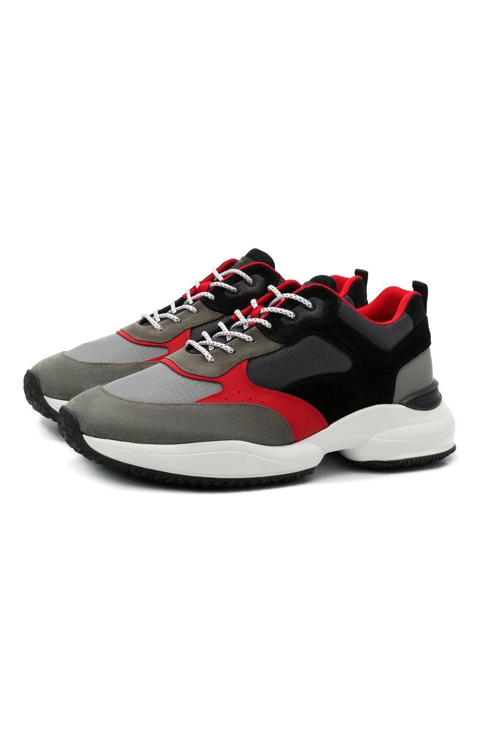 Мужские комбинированные кроссовки HOGAN разноцветного цвета, арт. HXM5450DH10PFG | Фото 1 (Материал внешний: Текстиль; Стили: Гранж; Материал внутренний: Текстиль; Подошва: Массивная)