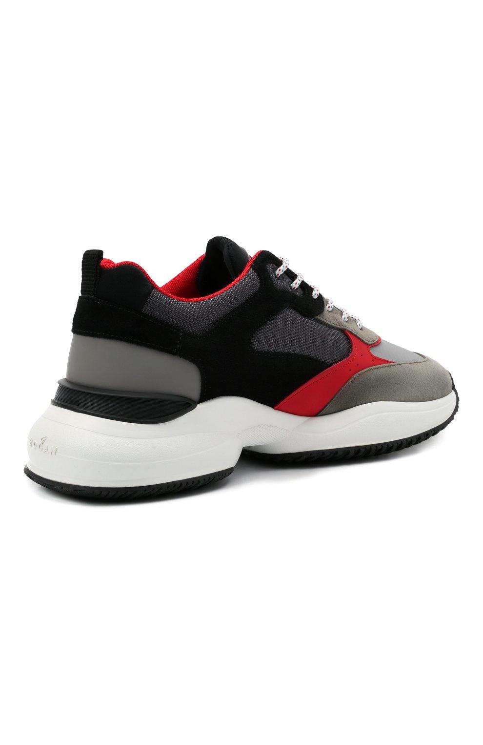 Мужские комбинированные кроссовки HOGAN разноцветного цвета, арт. HXM5450DH10PFG | Фото 4 (Материал внешний: Текстиль; Стили: Гранж; Материал внутренний: Текстиль; Подошва: Массивная)