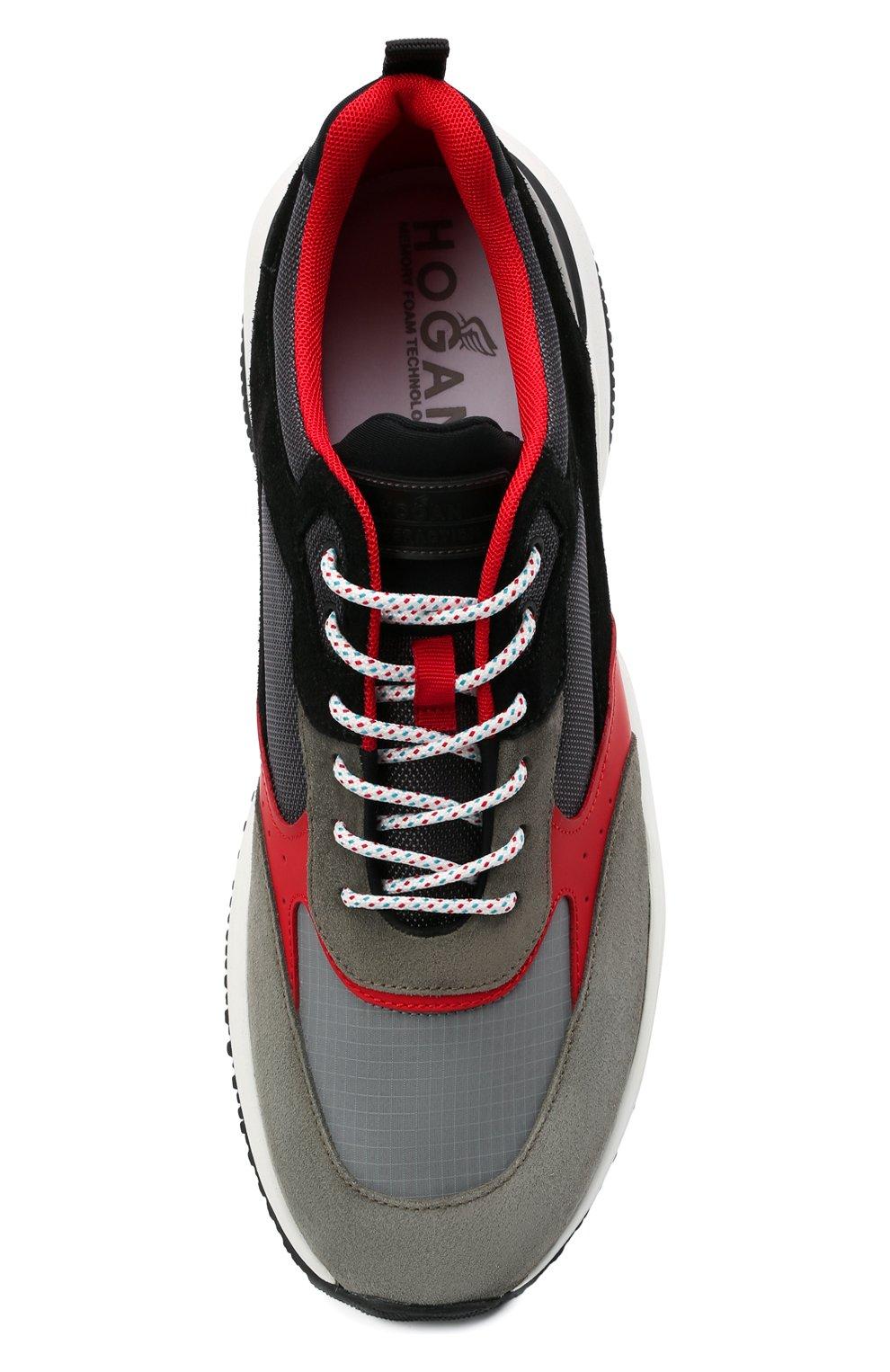 Мужские комбинированные кроссовки HOGAN разноцветного цвета, арт. HXM5450DH10PFG | Фото 5 (Материал внешний: Текстиль; Стили: Гранж; Материал внутренний: Текстиль; Подошва: Массивная)