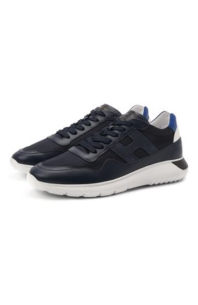 Мужские комбинированные кроссовки HOGAN синего цвета, арт. HXM3710AJ18PFR | Фото 1