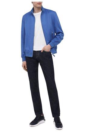 Мужские комбинированные кроссовки HOGAN синего цвета, арт. HXM3710AJ18PFR | Фото 2