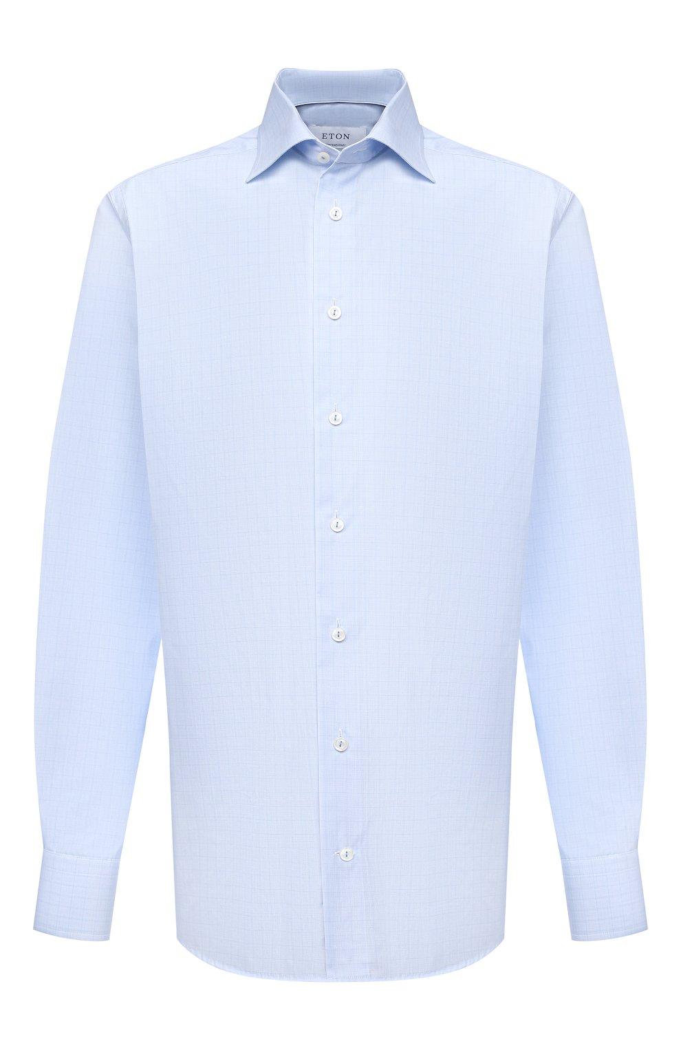 Мужская хлопковая сорочка ETON голубого цвета, арт. 1000 02237   Фото 1 (Манжеты: На пуговицах; Принт: Клетка; Рукава: Длинные; Рубашки М: Regular Fit; Воротник: Акула; Длина (для топов): Стандартные; Материал внешний: Хлопок; Стили: Классический; Случай: Формальный)