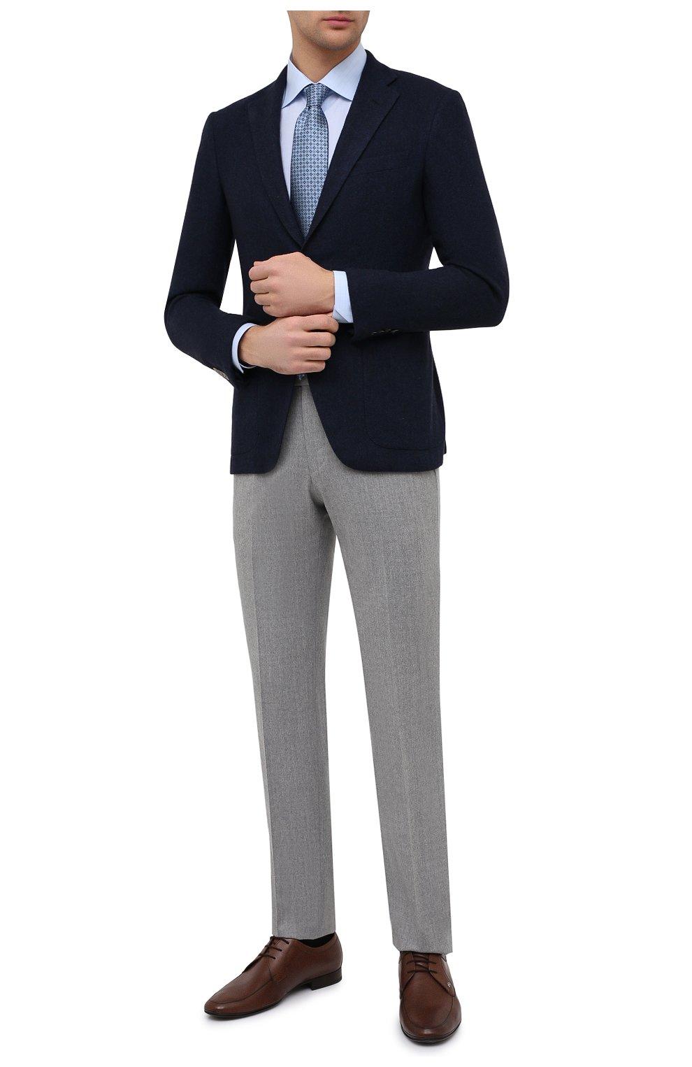 Мужская хлопковая сорочка ETON голубого цвета, арт. 1000 02237   Фото 2 (Манжеты: На пуговицах; Принт: Клетка; Рукава: Длинные; Рубашки М: Regular Fit; Воротник: Акула; Длина (для топов): Стандартные; Материал внешний: Хлопок; Стили: Классический; Случай: Формальный)