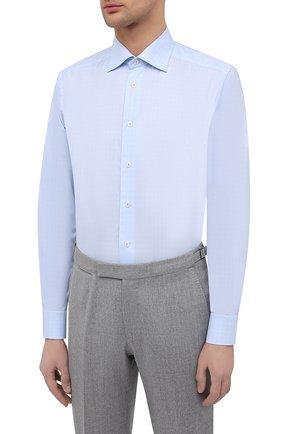 Мужская хлопковая сорочка ETON голубого цвета, арт. 1000 02237   Фото 3 (Манжеты: На пуговицах; Принт: Клетка; Рукава: Длинные; Рубашки М: Regular Fit; Воротник: Акула; Длина (для топов): Стандартные; Материал внешний: Хлопок; Стили: Классический; Случай: Формальный)