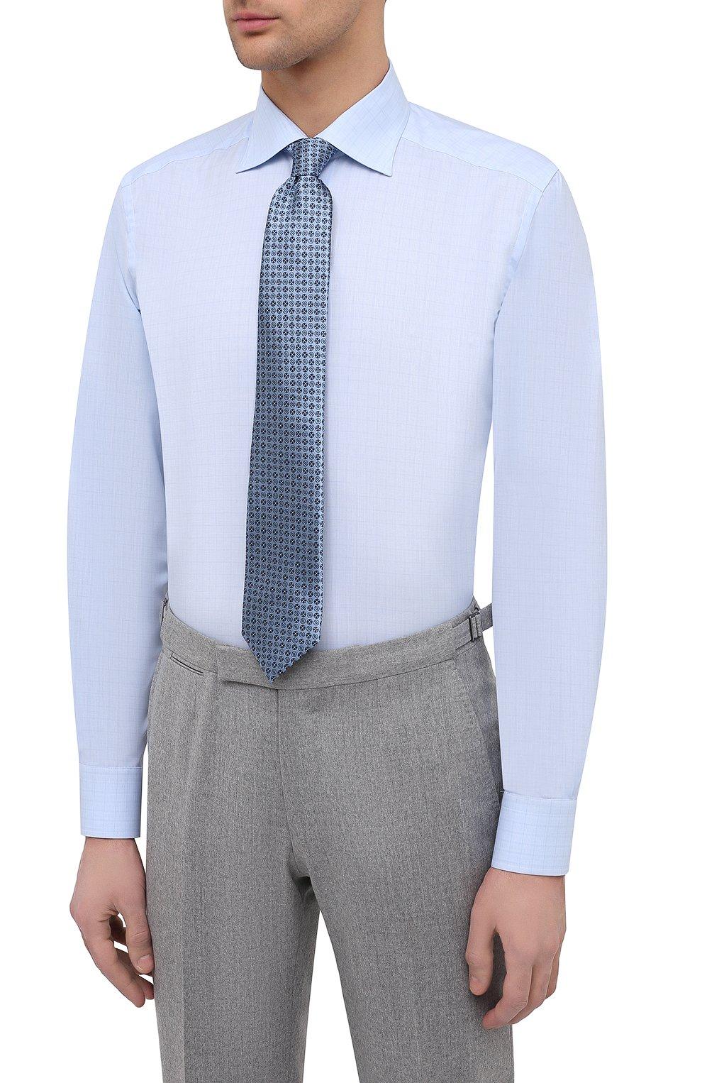 Мужская хлопковая сорочка ETON голубого цвета, арт. 1000 02237   Фото 4 (Манжеты: На пуговицах; Принт: Клетка; Рукава: Длинные; Рубашки М: Regular Fit; Воротник: Акула; Длина (для топов): Стандартные; Материал внешний: Хлопок; Стили: Классический; Случай: Формальный)