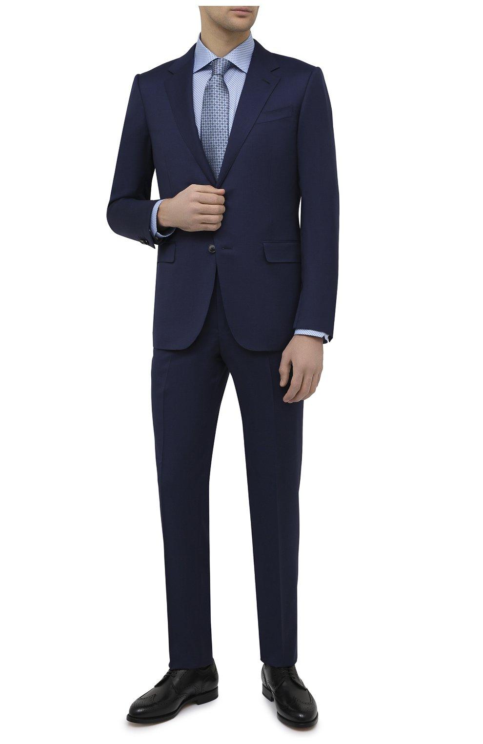 Мужская хлопковая сорочка ETON синего цвета, арт. 1000 02216 | Фото 2 (Манжеты: На пуговицах; Воротник: Кент; Рукава: Длинные; Рубашки М: Regular Fit; Длина (для топов): Стандартные; Принт: С принтом; Материал внешний: Хлопок; Стили: Классический; Случай: Формальный)