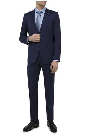 Мужская хлопковая сорочка ETON синего цвета, арт. 1000 02216 | Фото 2 (Материал внешний: Хлопок; Рукава: Длинные; Длина (для топов): Стандартные; Случай: Формальный; Принт: С принтом; Рубашки М: Regular Fit; Манжеты: На пуговицах; Воротник: Кент; Стили: Классический)