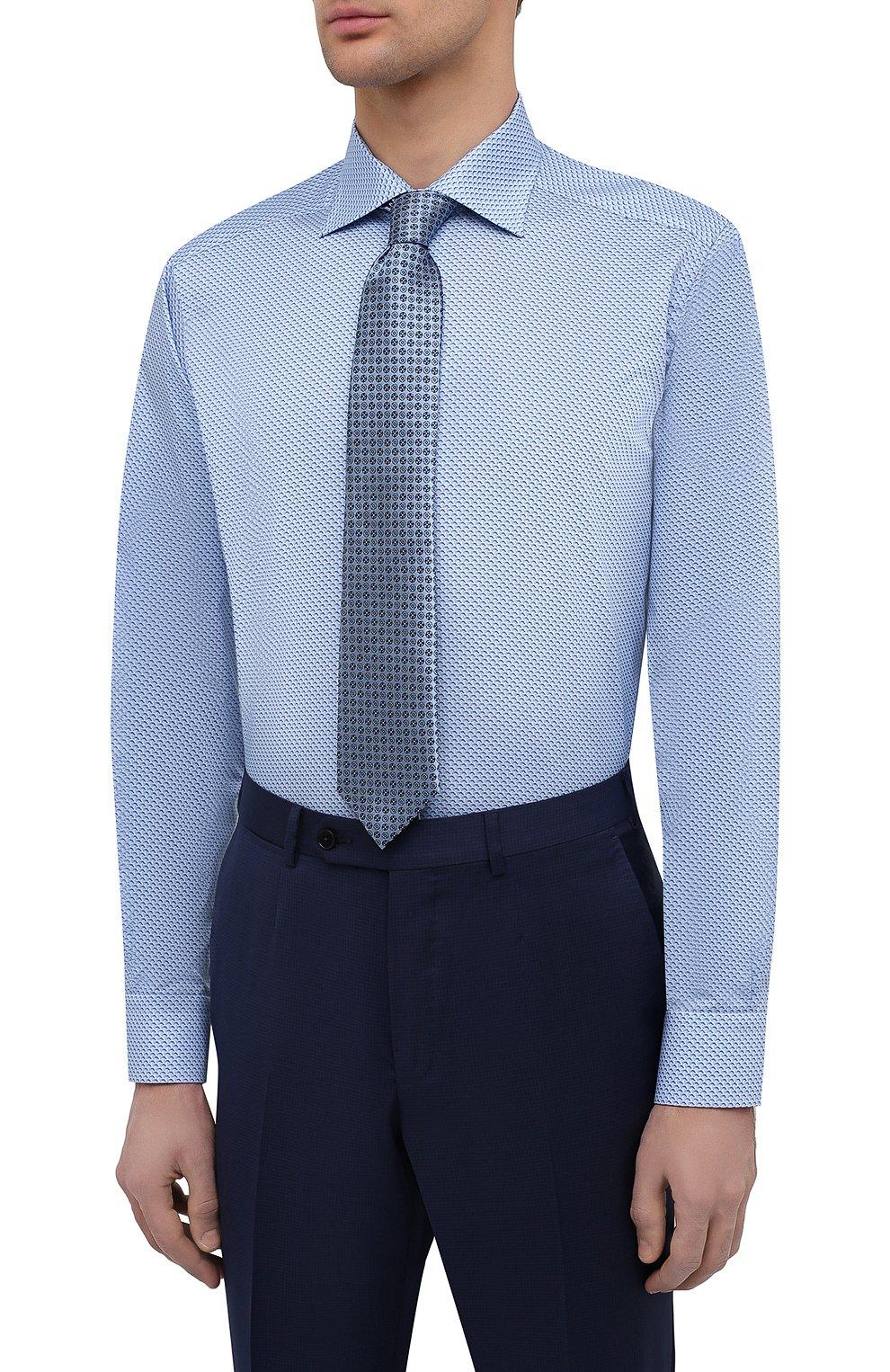 Мужская хлопковая сорочка ETON синего цвета, арт. 1000 02216 | Фото 4 (Манжеты: На пуговицах; Воротник: Кент; Рукава: Длинные; Рубашки М: Regular Fit; Длина (для топов): Стандартные; Принт: С принтом; Материал внешний: Хлопок; Стили: Классический; Случай: Формальный)