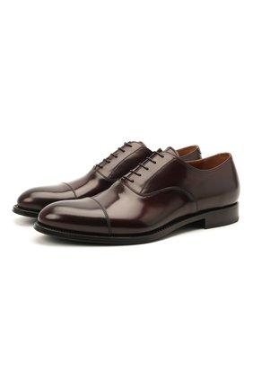 Мужские кожаные оксфорды W.GIBBS бордового цвета, арт. 8378003/2437 | Фото 1 (Материал внутренний: Натуральная кожа; Стили: Классический)