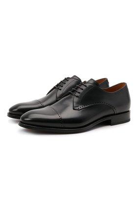 Мужские кожаные дерби W.GIBBS темно-синего цвета, арт. 7255029/2102 | Фото 1 (Материал внутренний: Натуральная кожа; Стили: Классический; Мужское Кросс-КТ: Броги-обувь)