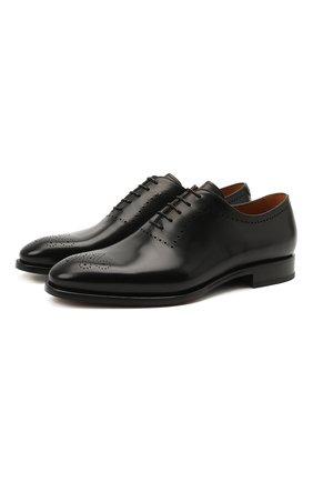 Мужские кожаные оксфорды W.GIBBS черного цвета, арт. 7255012/2102   Фото 1 (Материал внутренний: Натуральная кожа; Мужское Кросс-КТ: Броги-обувь; Стили: Классический)