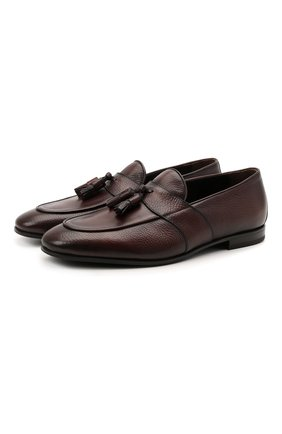 Мужские кожаные лоферы W.GIBBS темно-коричневого цвета, арт. 0801018/1286 | Фото 1 (Материал внутренний: Натуральная кожа; Мужское Кросс-КТ: Лоферы-обувь; Стили: Классический)