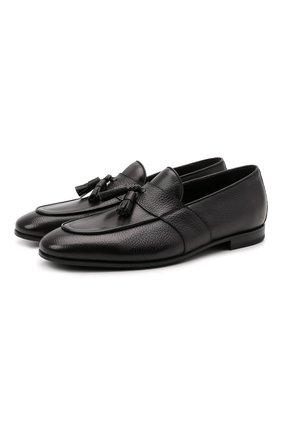 Мужские кожаные лоферы W.GIBBS черного цвета, арт. 0801018/1286   Фото 1 (Материал внутренний: Натуральная кожа; Мужское Кросс-КТ: Лоферы-обувь; Стили: Классический)