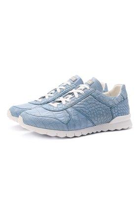 Мужские кроссовки из кожи крокодила KITON голубого цвета, арт. USSVLAWN00102/CP0R | Фото 1