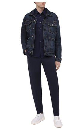 Мужские хлопковые брюки ASPESI темно-синего цвета, арт. S1 A CP32 G436 | Фото 2 (Длина (брюки, джинсы): Стандартные; Случай: Повседневный; Материал внешний: Хлопок; Стили: Кэжуэл)