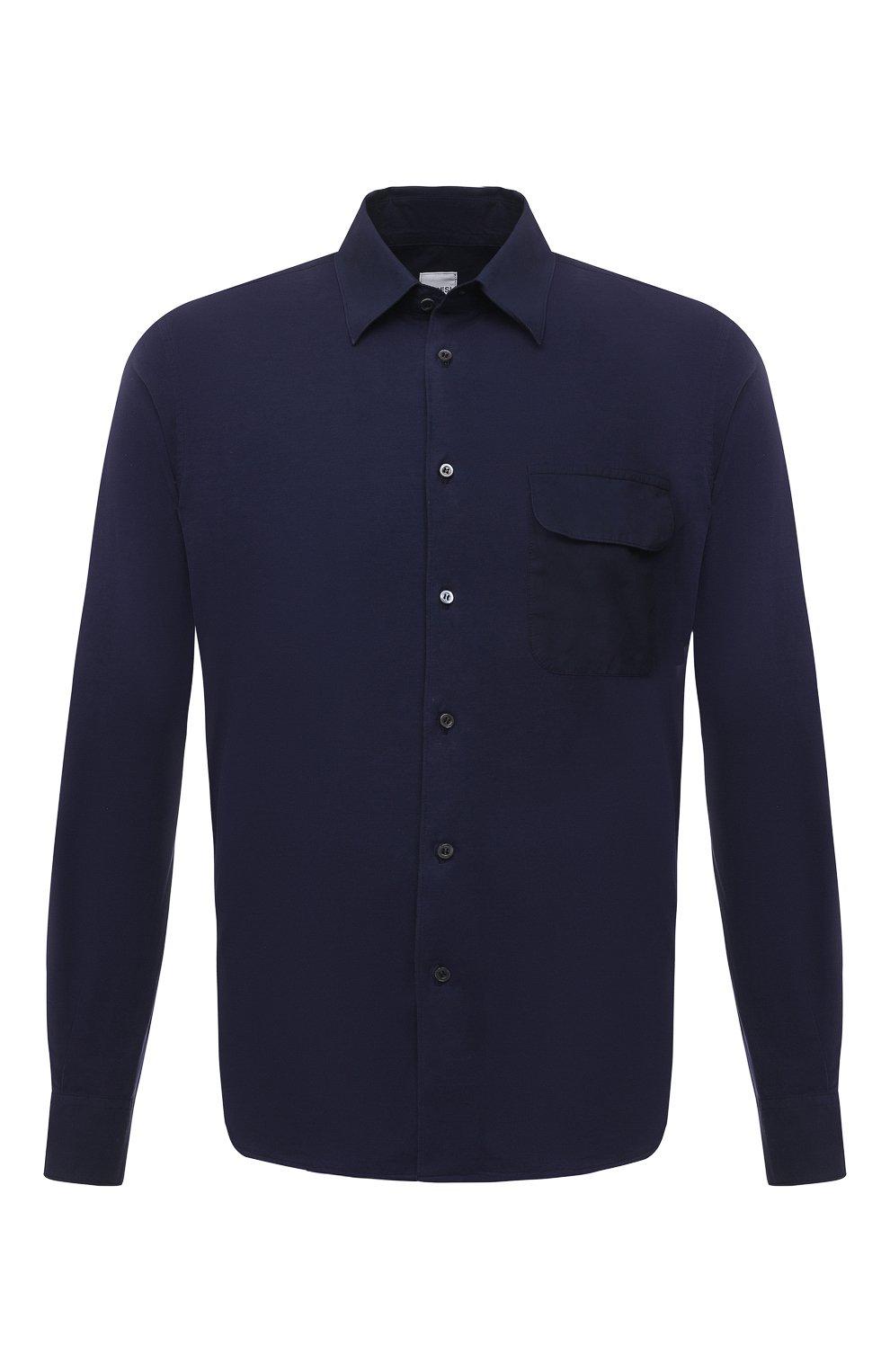 Мужская хлопковая рубашка ASPESI темно-синего цвета, арт. S1 A AY46 9408   Фото 1 (Манжеты: На пуговицах; Воротник: Кент; Рукава: Длинные; Случай: Повседневный; Длина (для топов): Стандартные; Материал внешний: Хлопок; Принт: Однотонные; Стили: Кэжуэл)
