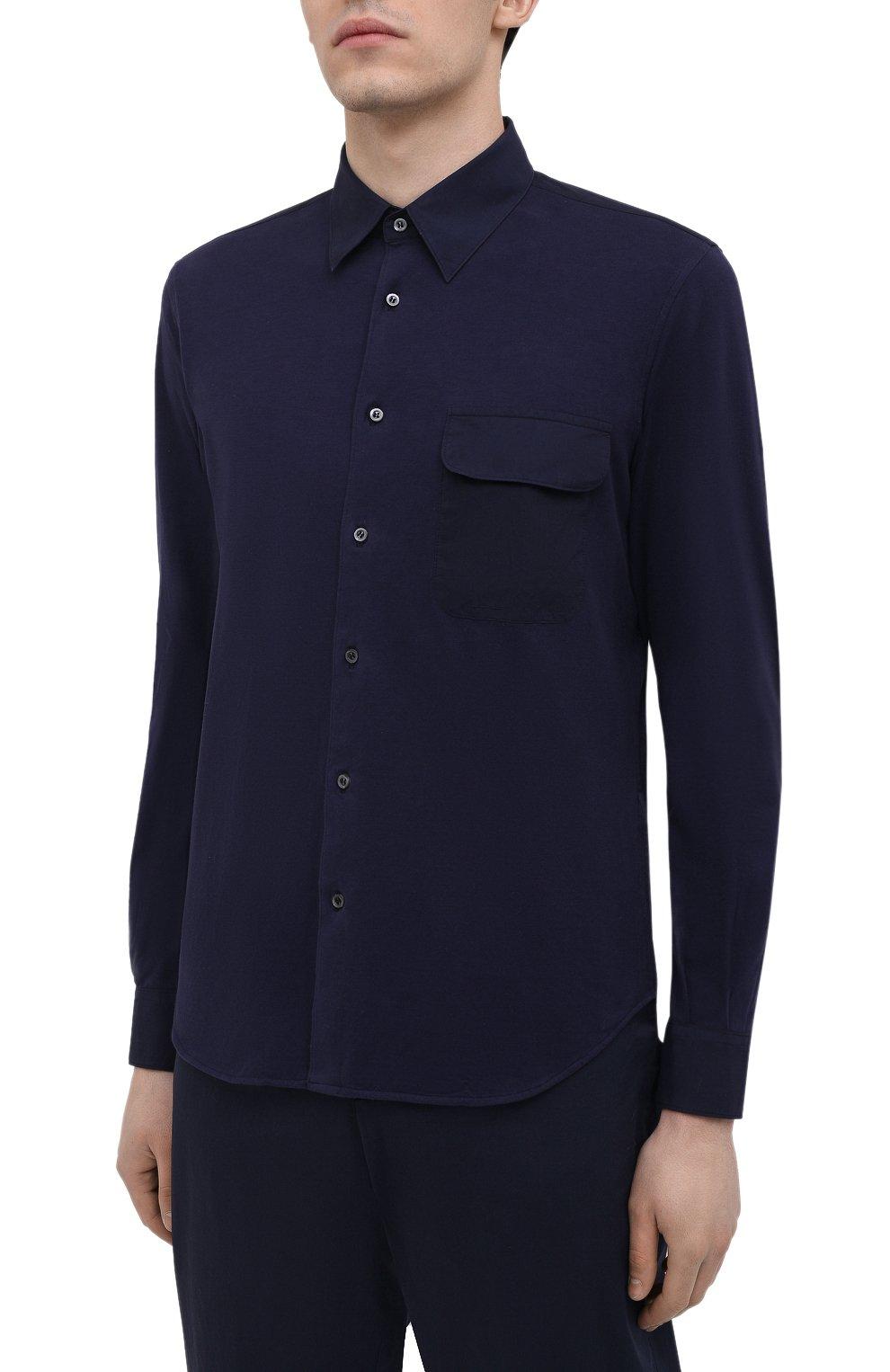 Мужская хлопковая рубашка ASPESI темно-синего цвета, арт. S1 A AY46 9408   Фото 3 (Манжеты: На пуговицах; Воротник: Кент; Рукава: Длинные; Случай: Повседневный; Длина (для топов): Стандартные; Материал внешний: Хлопок; Принт: Однотонные; Стили: Кэжуэл)