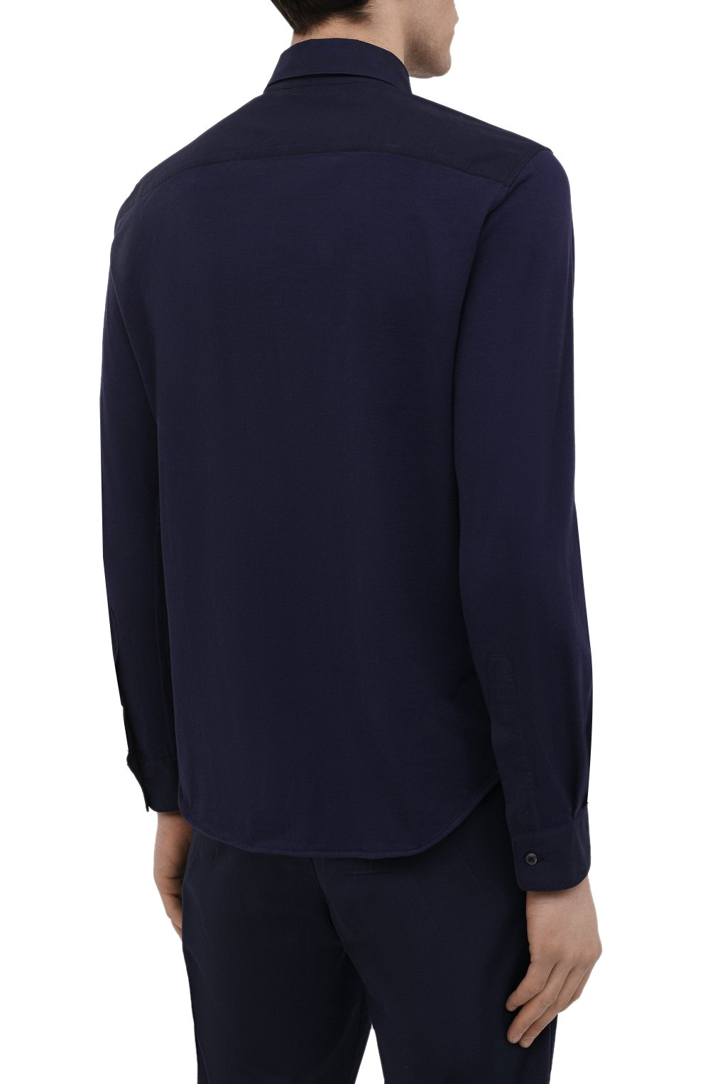 Мужская хлопковая рубашка ASPESI темно-синего цвета, арт. S1 A AY46 9408   Фото 4 (Манжеты: На пуговицах; Воротник: Кент; Рукава: Длинные; Случай: Повседневный; Длина (для топов): Стандартные; Материал внешний: Хлопок; Принт: Однотонные; Стили: Кэжуэл)