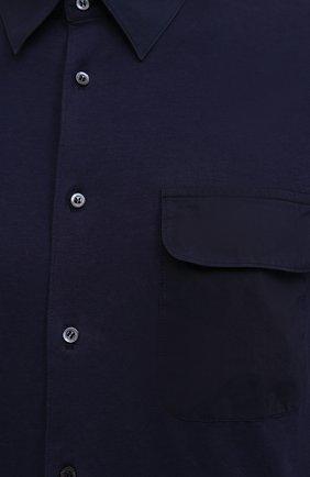 Мужская хлопковая рубашка ASPESI темно-синего цвета, арт. S1 A AY46 9408   Фото 5 (Манжеты: На пуговицах; Воротник: Кент; Рукава: Длинные; Случай: Повседневный; Длина (для топов): Стандартные; Материал внешний: Хлопок; Принт: Однотонные; Стили: Кэжуэл)