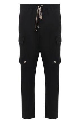 Мужские хлопковые брюки-карго RICK OWENS черного цвета, арт. RU21S6379/TE | Фото 1