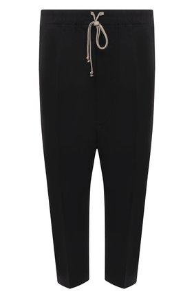 Мужские хлопковые брюки RICK OWENS черного цвета, арт. RU21S6381/P | Фото 1 (Материал внешний: Хлопок; Длина (брюки, джинсы): Укороченные; Случай: Повседневный; Стили: Минимализм)