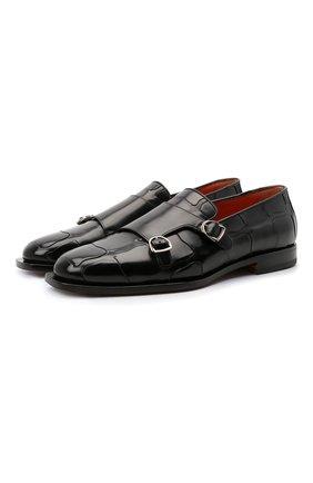 Мужские кожаные лоферы SANTONI черного цвета, арт. MCNC17585LB4EMDFN01 | Фото 1 (Материал внутренний: Натуральная кожа; Стили: Классический)