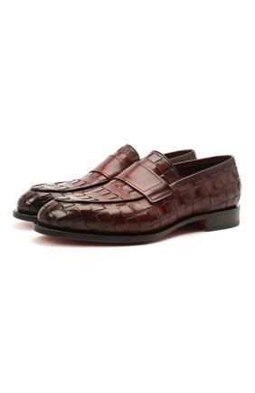 Мужские кожаные лоферы SANTONI коричневого цвета, арт. MCC017554MC3HVVDQ52 | Фото 1 (Материал внутренний: Натуральная кожа; Мужское Кросс-КТ: Лоферы-обувь; Стили: Классический)