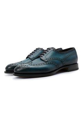 Мужские кожаные дерби SANTONI синего цвета, арт. MCC015761PC4NFRKU48 | Фото 1 (Материал внутренний: Натуральная кожа; Стили: Классический; Мужское Кросс-КТ: Броги-обувь)