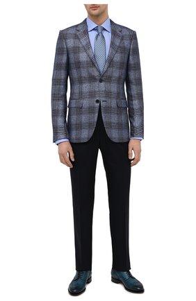 Мужские кожаные дерби SANTONI синего цвета, арт. MCC015761PC4NFRKU48 | Фото 2 (Материал внутренний: Натуральная кожа; Стили: Классический; Мужское Кросс-КТ: Броги-обувь)