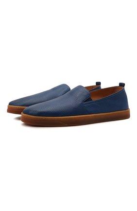 Мужские кожаные слипоны H`D`S`N BARACCO темно-синего цвета, арт. R0DI.24* | Фото 1