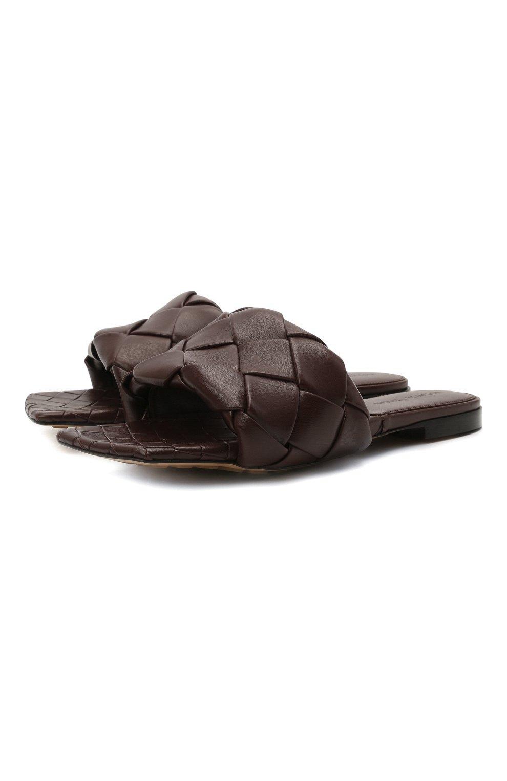 Женские кожаные шлепанцы lido BOTTEGA VENETA темно-коричневого цвета, арт. 608853/VBSS0 | Фото 1