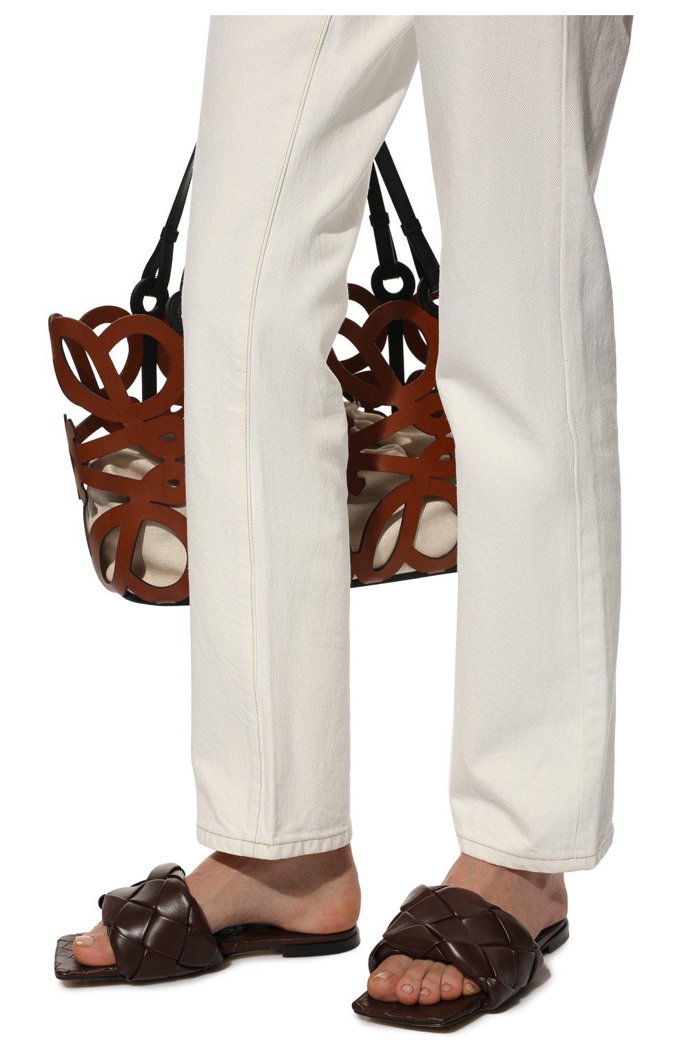 Женские кожаные шлепанцы lido BOTTEGA VENETA темно-коричневого цвета, арт. 608853/VBSS0 | Фото 3