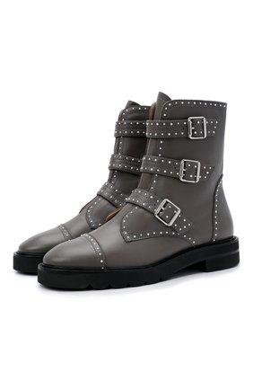Женские кожаные ботинки jesse STUART WEITZMAN серого цвета, арт. S0425 | Фото 1