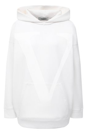 Женский хлопковое худи VALENTINO белого цвета, арт. VB3MF08V66G   Фото 1
