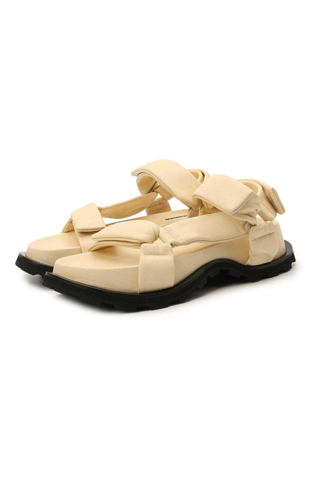 Женские кожаные сандалии JIL SANDER бежевого цвета, арт. JS36045A-13010   Фото 1 (Подошва: Платформа; Каблук высота: Низкий; Материал внутренний: Натуральная кожа)