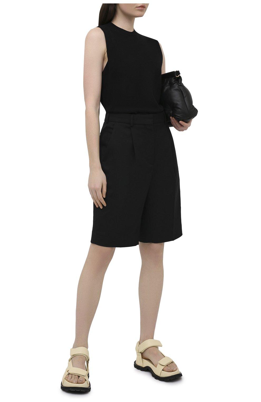 Женские кожаные сандалии JIL SANDER бежевого цвета, арт. JS36045A-13010   Фото 2 (Подошва: Платформа; Каблук высота: Низкий; Материал внутренний: Натуральная кожа)