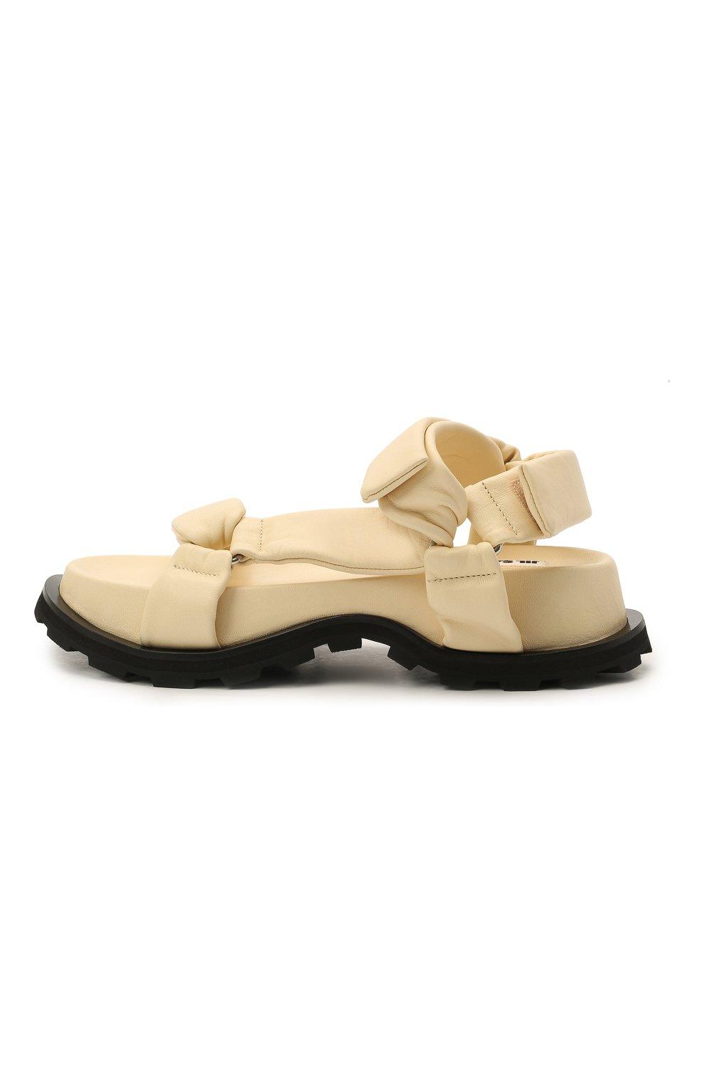 Женские кожаные сандалии JIL SANDER бежевого цвета, арт. JS36045A-13010   Фото 3 (Подошва: Платформа; Каблук высота: Низкий; Материал внутренний: Натуральная кожа)