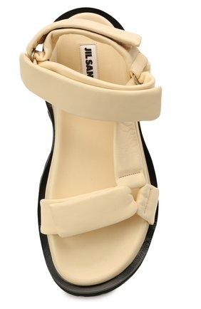 Женские кожаные сандалии JIL SANDER бежевого цвета, арт. JS36045A-13010   Фото 5 (Подошва: Платформа; Каблук высота: Низкий; Материал внутренний: Натуральная кожа)