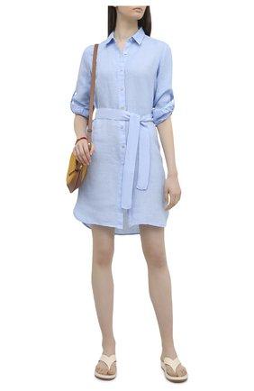 Женское льняное платье 120% LINO голубого цвета, арт. T0W49AZ/0115/000 | Фото 2