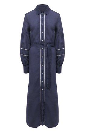 Женское льняное платье 120% LINO темно-синего цвета, арт. T0W49AK/0115/000 | Фото 1