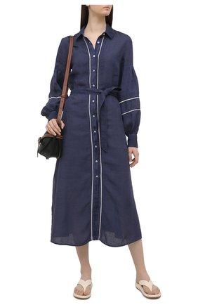 Женское льняное платье 120% LINO темно-синего цвета, арт. T0W49AK/0115/000 | Фото 2