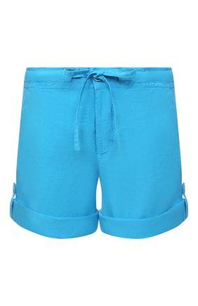 Женские льняные шорты 120% LINO голубого цвета, арт. T0W2794/F753/000   Фото 1