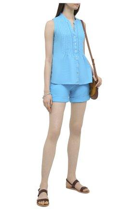 Женские льняные шорты 120% LINO голубого цвета, арт. T0W2794/F753/000   Фото 2